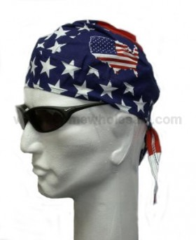 USA Flag Stars and Stripes with US Map Head Wear